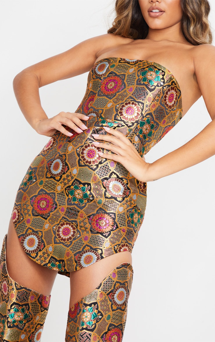 Gold Jacquard Bandeau Curve Hem Bodycon Dress 5