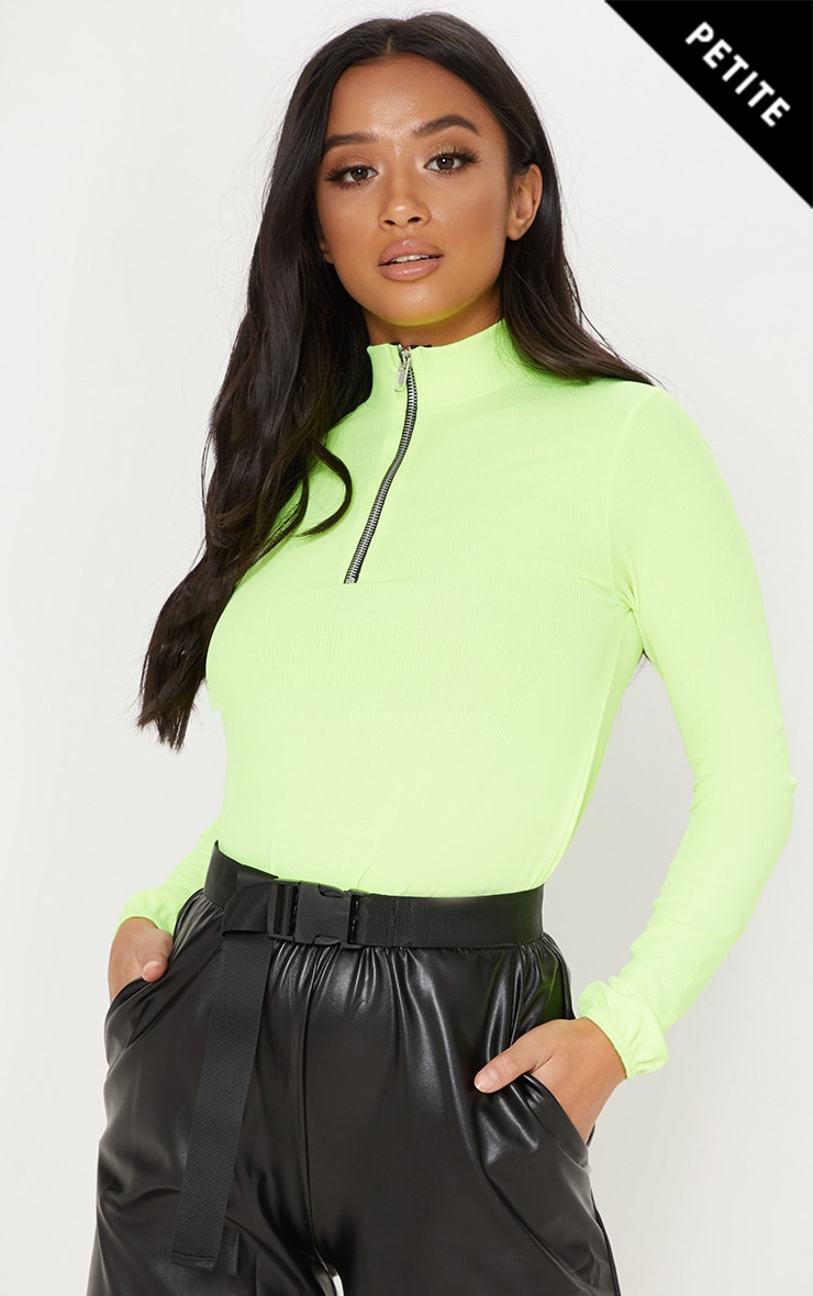 Petite Neon Lime High Neck Long Sleeve Zip Front Ribbed Top