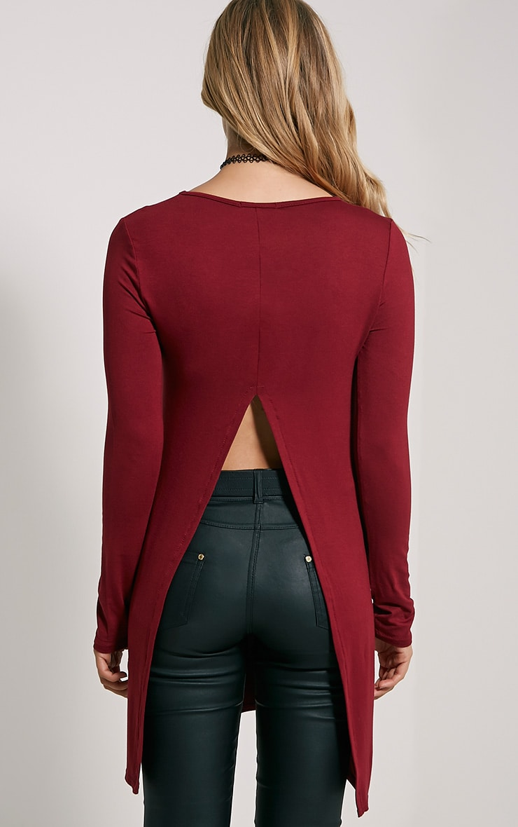 Eldora Burgundy Longline Split Back Top 2