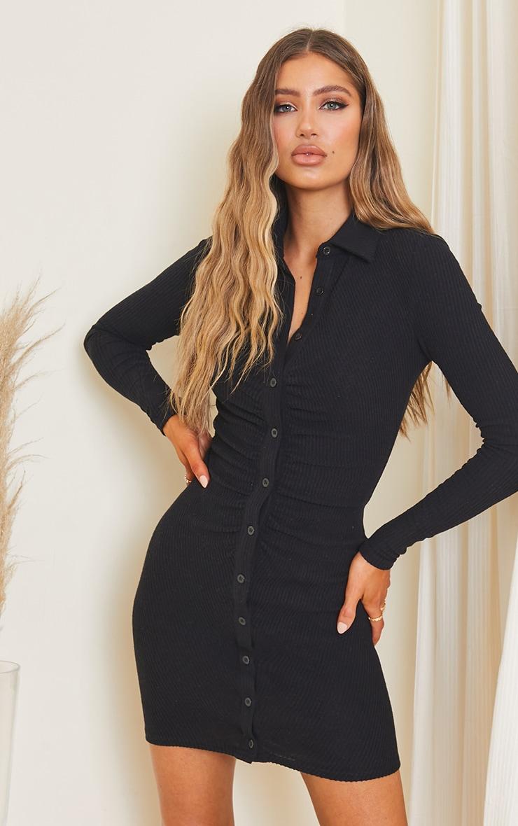 Black Rib Long Sleeve Ruched Shirt Dress 1