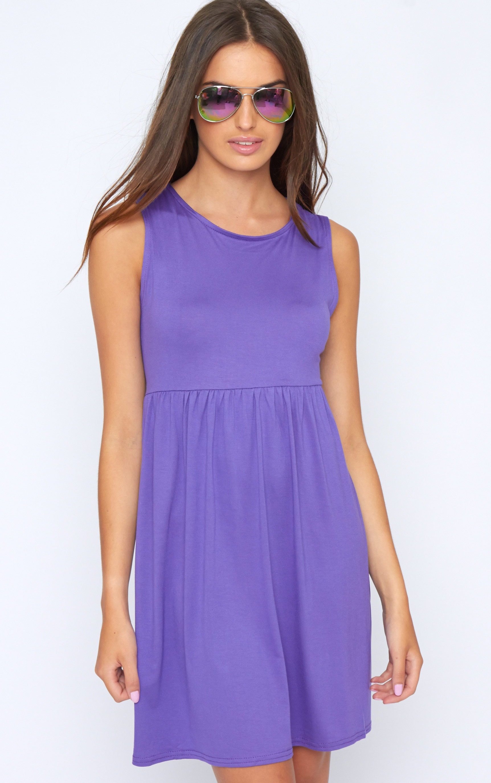 Kirsten Purple Sleeveless Smock Dress 1