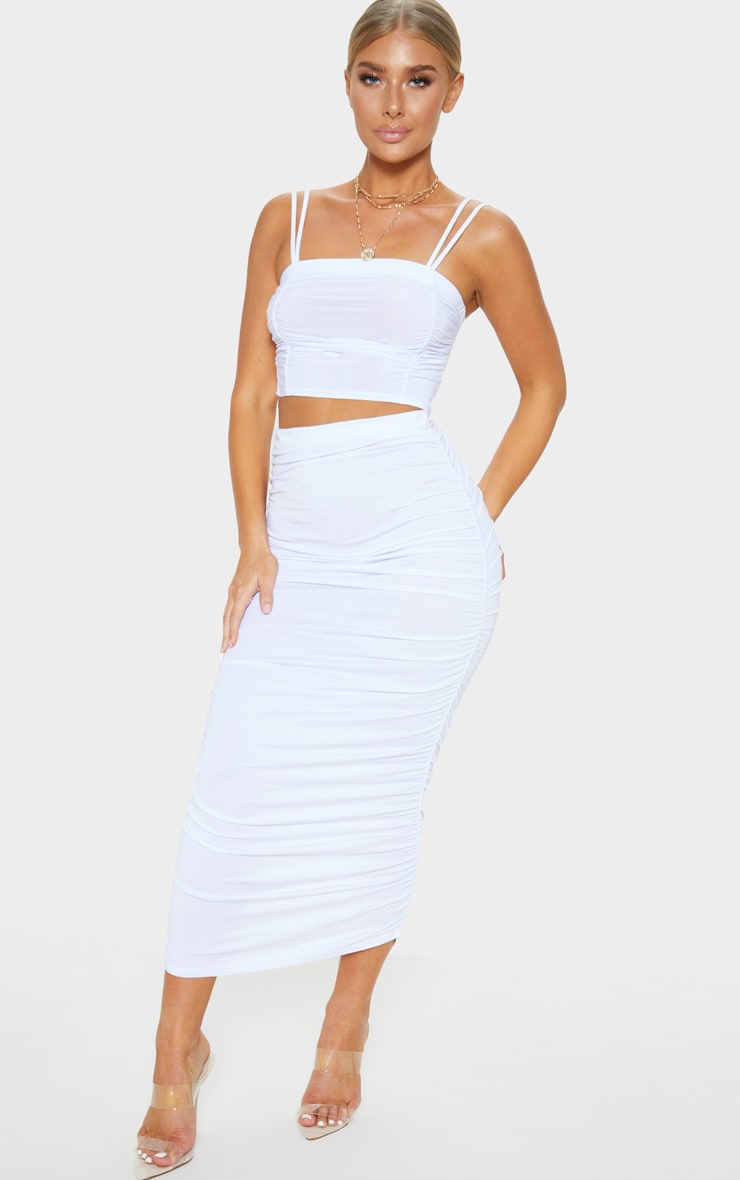 White Ruched Midaxi Skirt 1