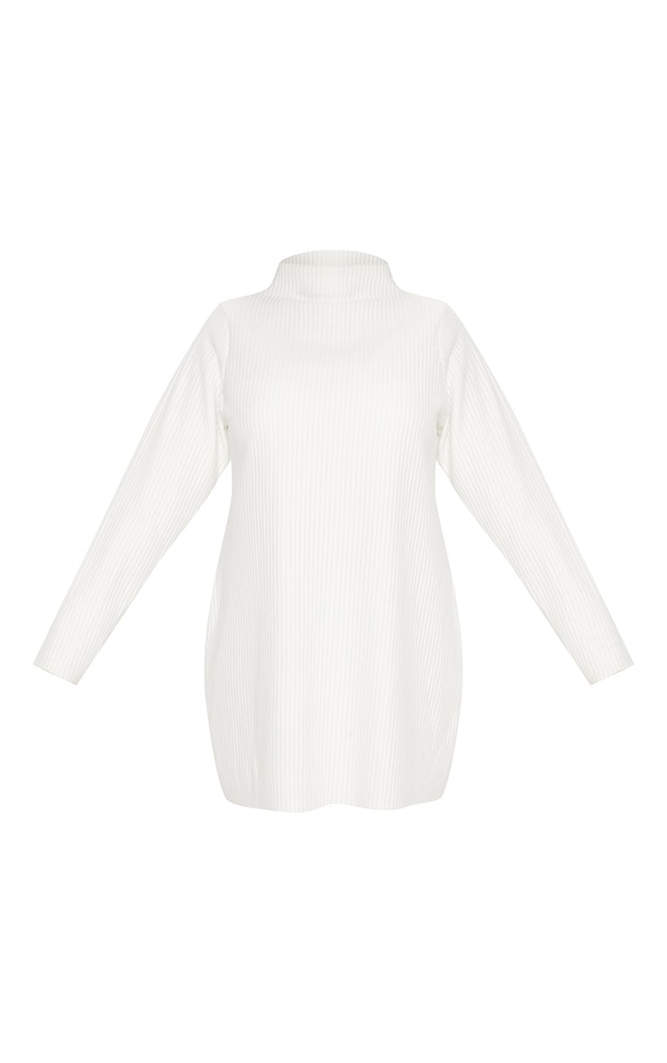 Plus Cream Jumbo Rib High Neck Sweater Dress 4
