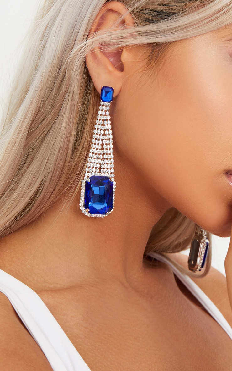 Navy Square Diamante Drop Earrings 4