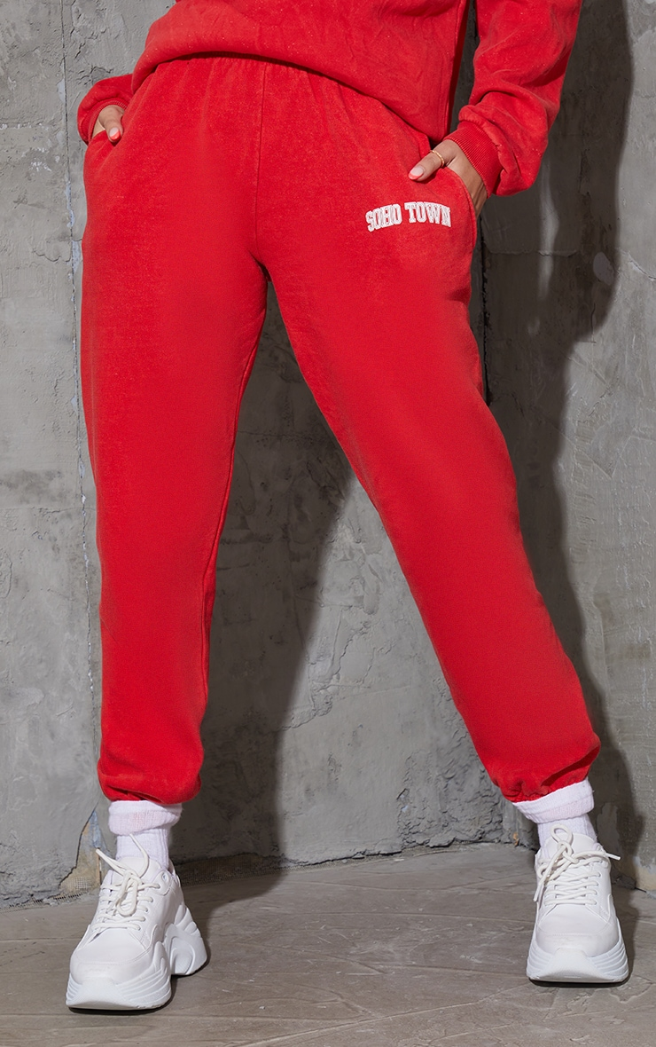 Red Washed Soho Town Printed Joggers 2