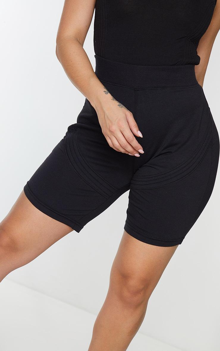Shape Black Cotton Panel Detailed Bike Shorts 5