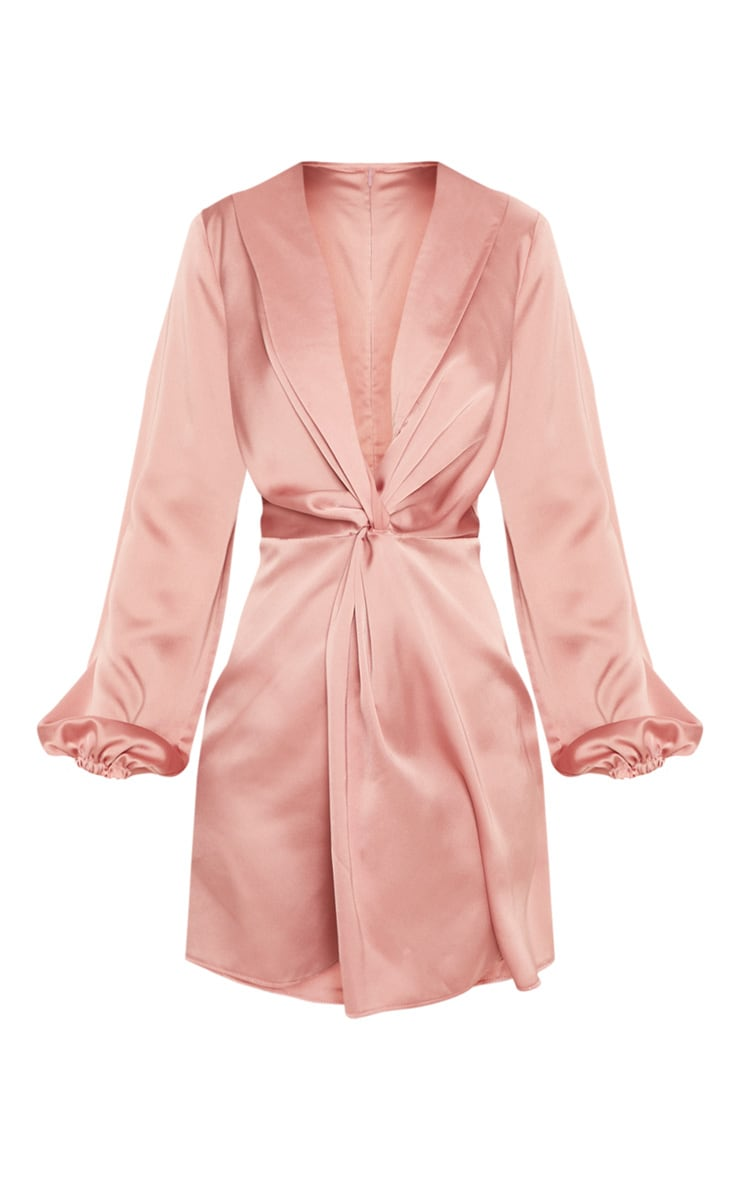 Rose Satin Knot Detail Plunge Shift Dress 3