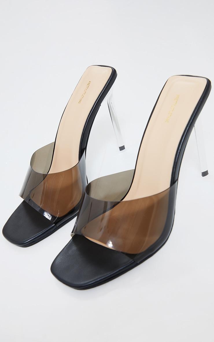 Black PU Clear Strap Contrast High Heeled Mules 1
