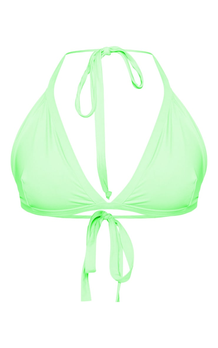 Plus Neon Lime Seam Detail Triangle Bikini Top 3