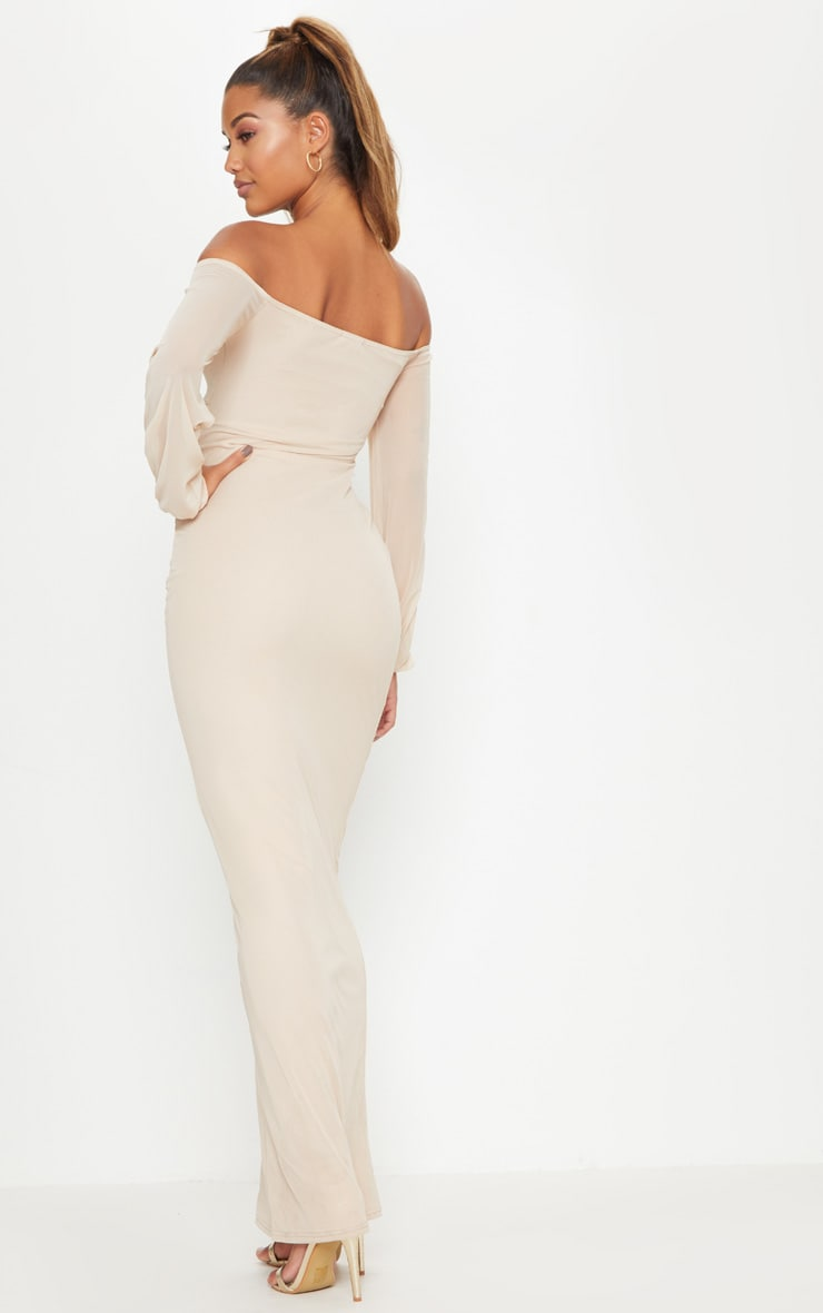 Nude Mesh Ruched Square Neck Maxi Dress 2