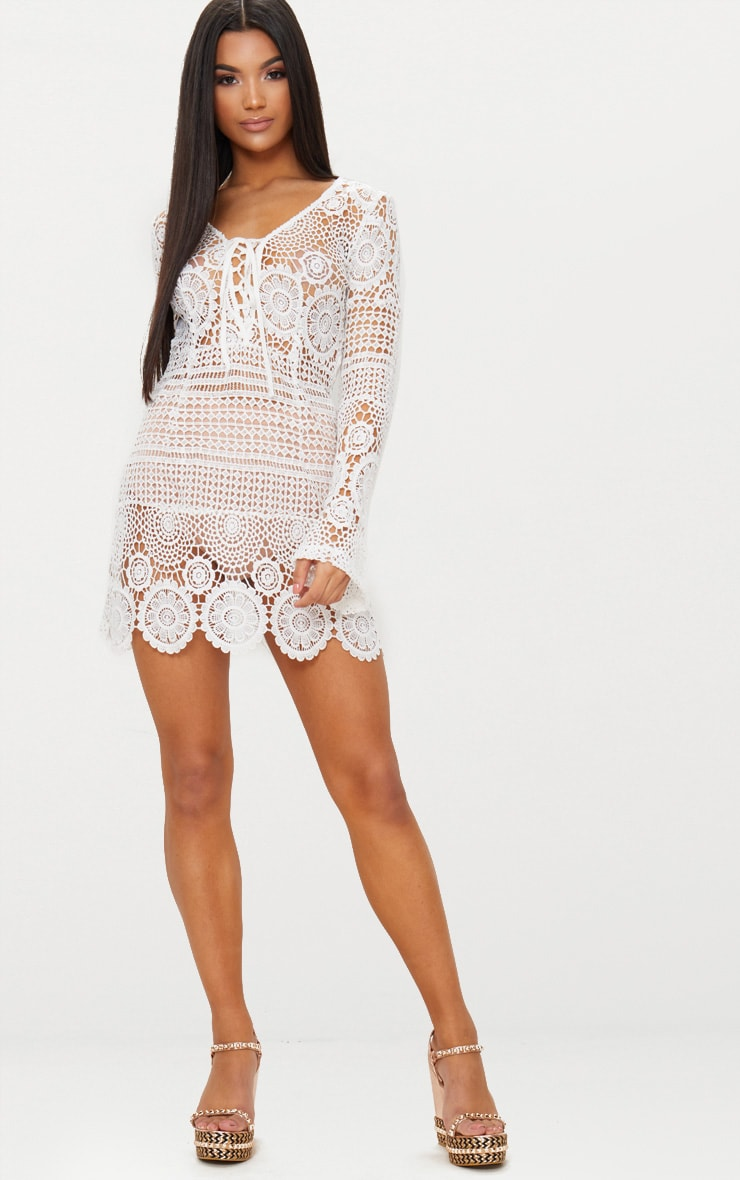White Tie Front Flare Sleeve Crochet Lace Bodycon Dress 5
