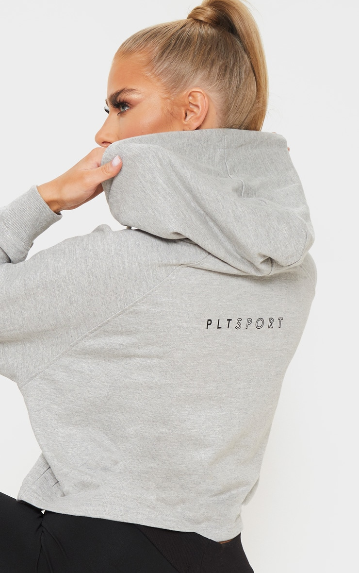 PRETTYLITTLETHING Grey Soft Zip Up Gym Sweat Hoodie 4