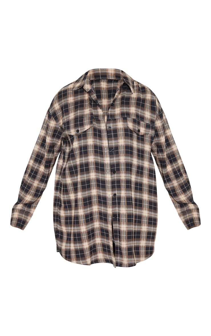 Chocolate Checked Pocket Detail Oversized Shirt 3