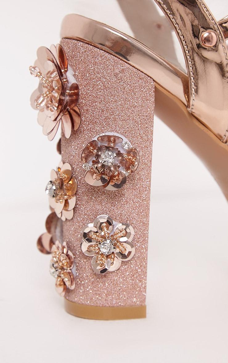 Evy sandales à talons carrés à ornements or rose 4