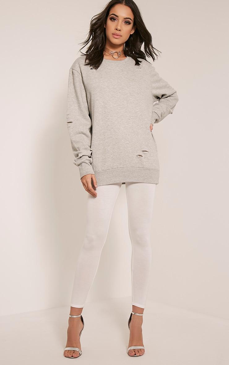 Jadey Grey Ripped Oversized Sweatshirt 5