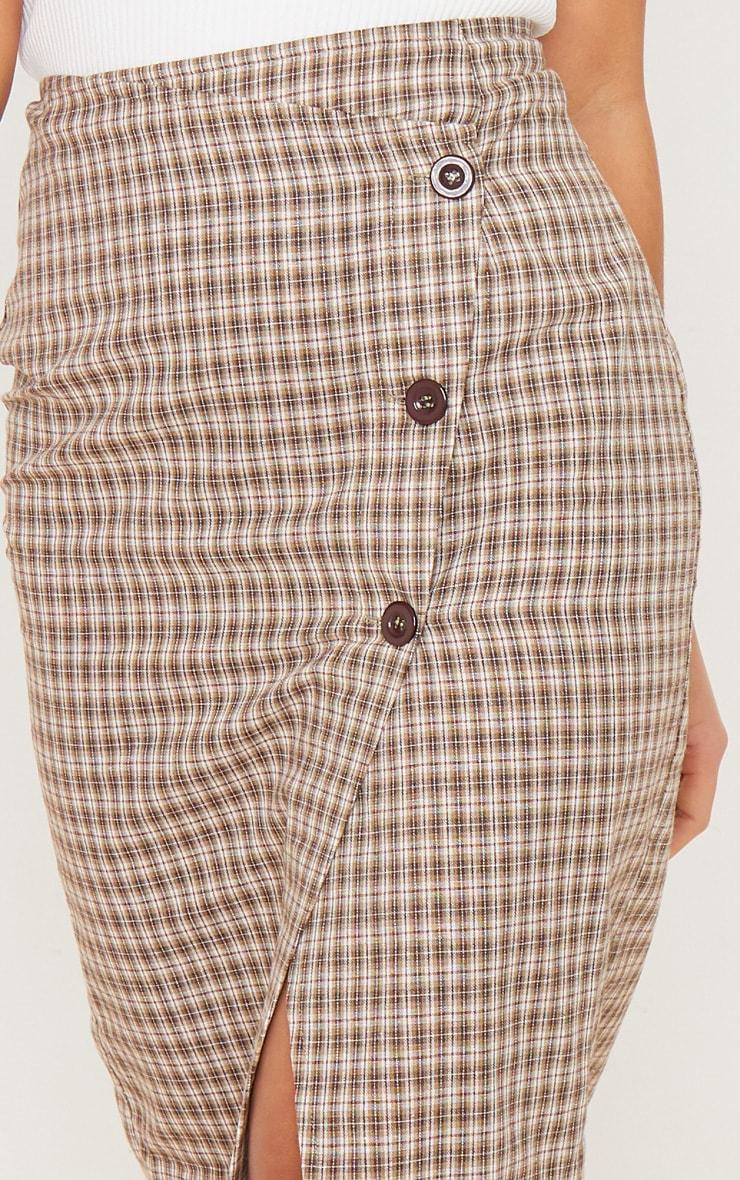 Petite Brown Checked Button Midi Skirt 5
