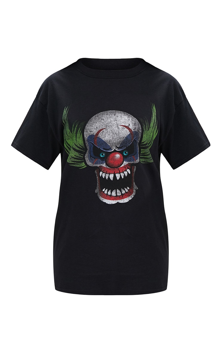Black Scary Clown Print T Shirt 3