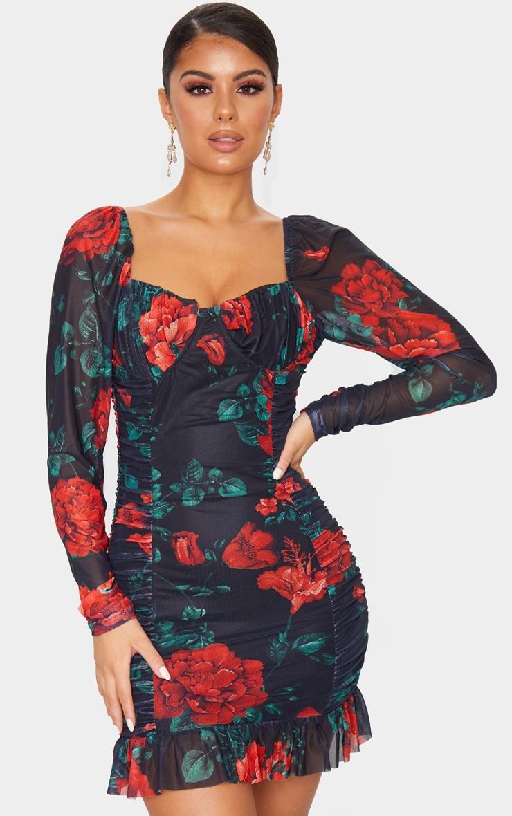 Robe moulante froncée en mesh floral noir à manches longues et détail bonnets 1