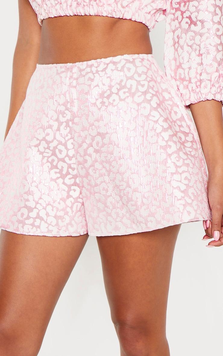 Pink Foil Print A Line Shorts 6