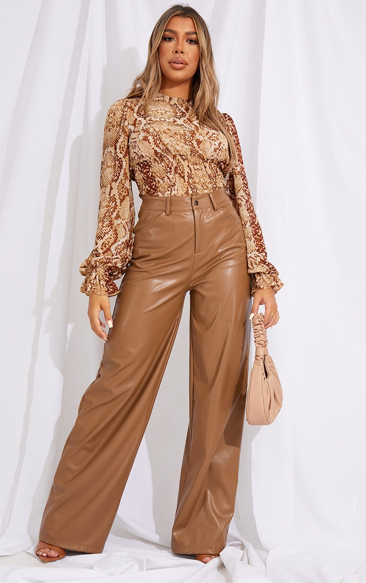 Beige Woven Animal Print Ruched Waist Long Sleeve Blouse 3