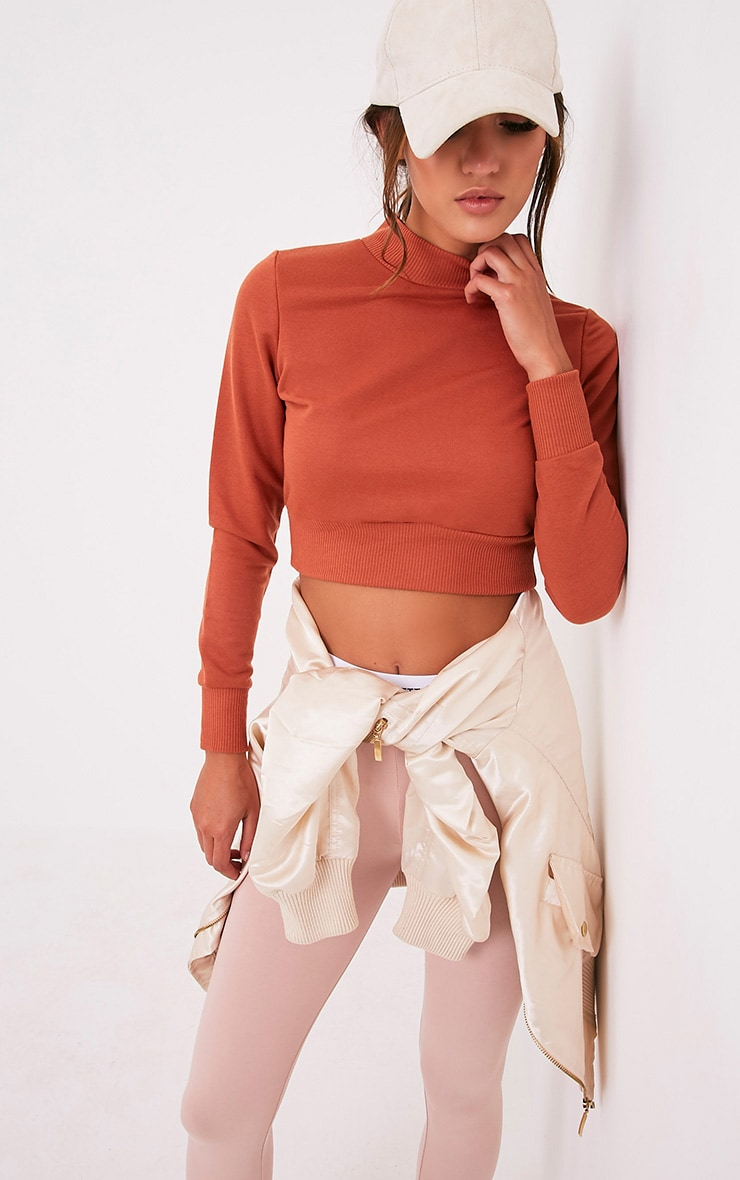 Emiliana Deep Peach Crop Sweatshirt 4
