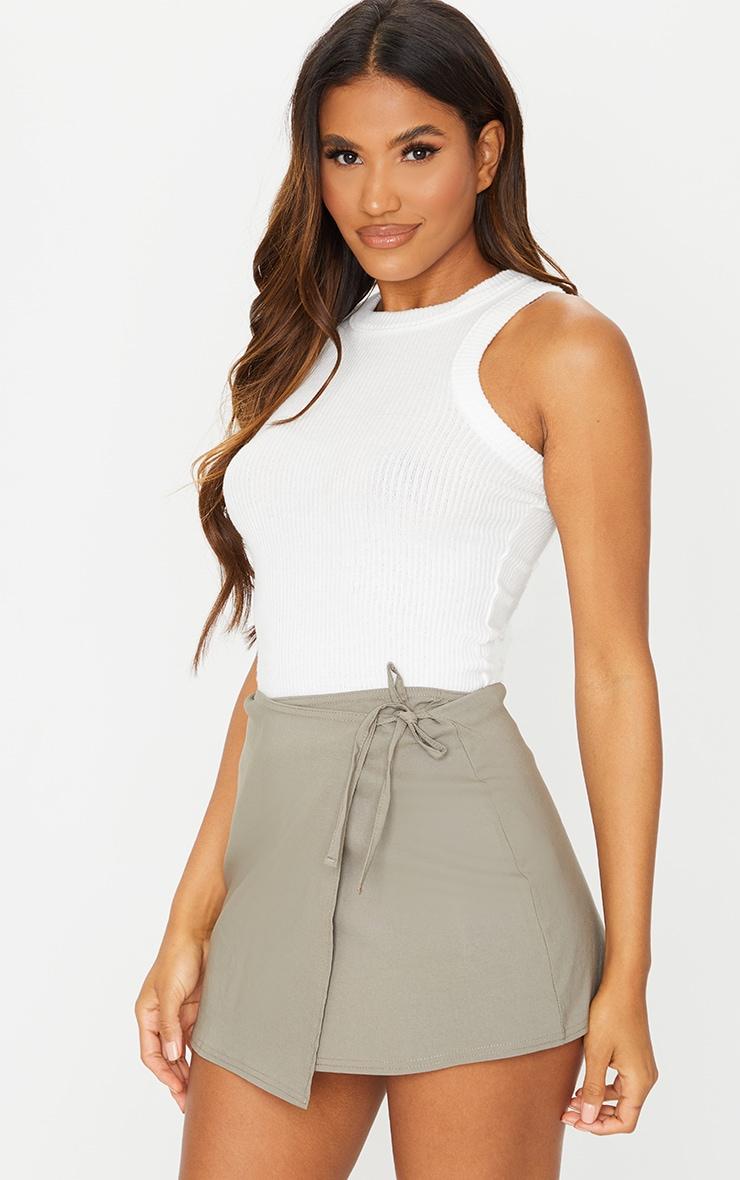 Sage Green Wrap Mini Skirt 1