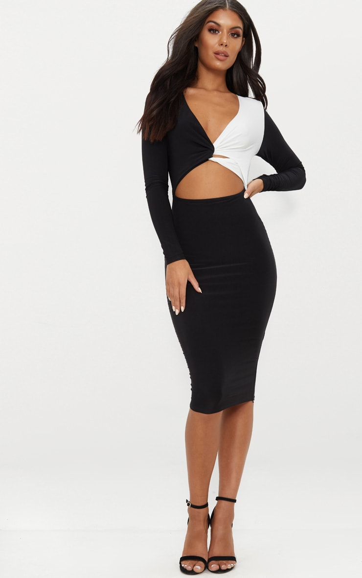 Monochrome Double Layer Slinky Plunge Contrast Detail Midi Dress  1