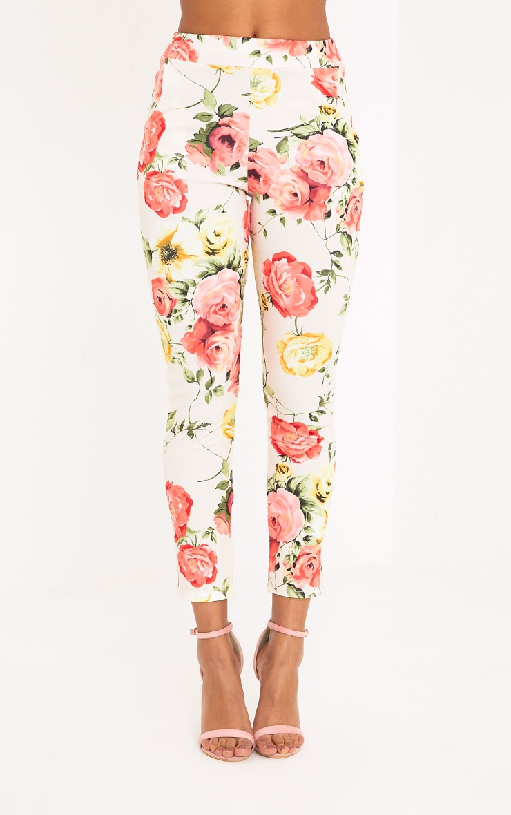 Sage Stone Floral Print Trousers 2