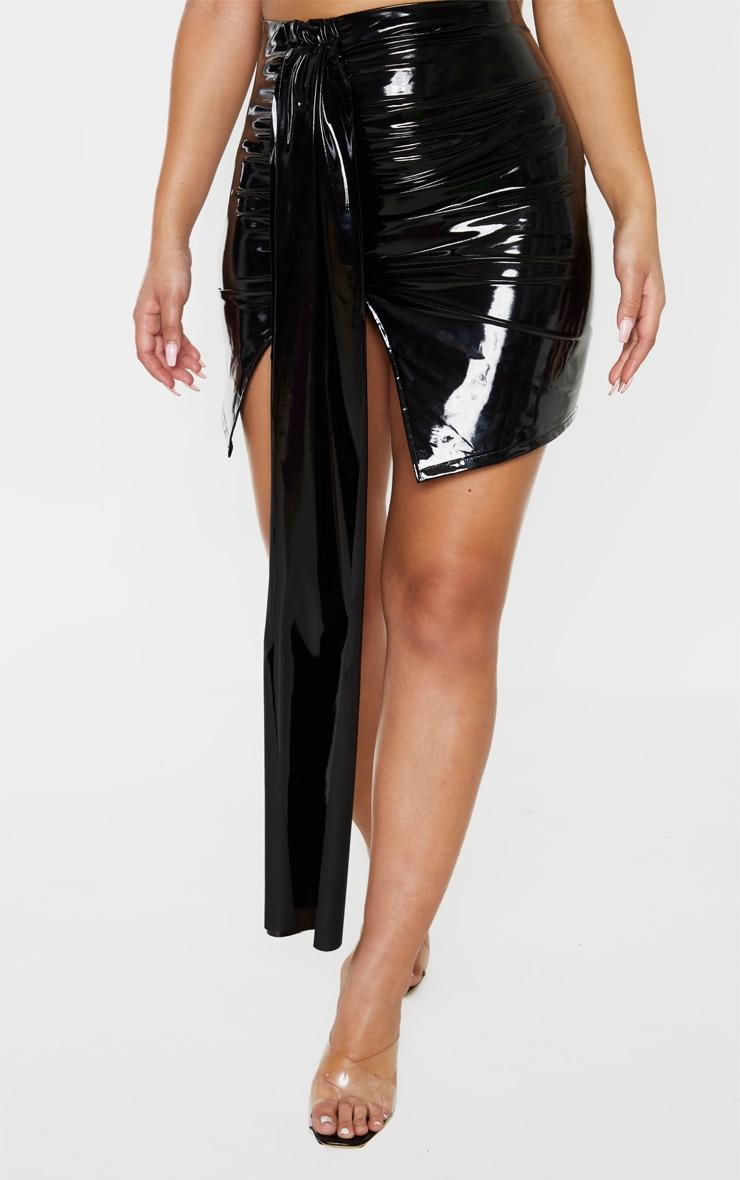 Black Faux Leather Extreme Drape Mini Skirt  2