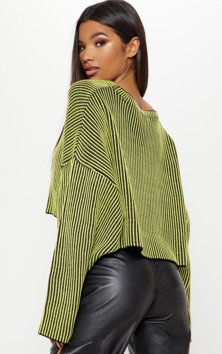 Lime Two Tone Knit Batwing Cropped Jumper 2