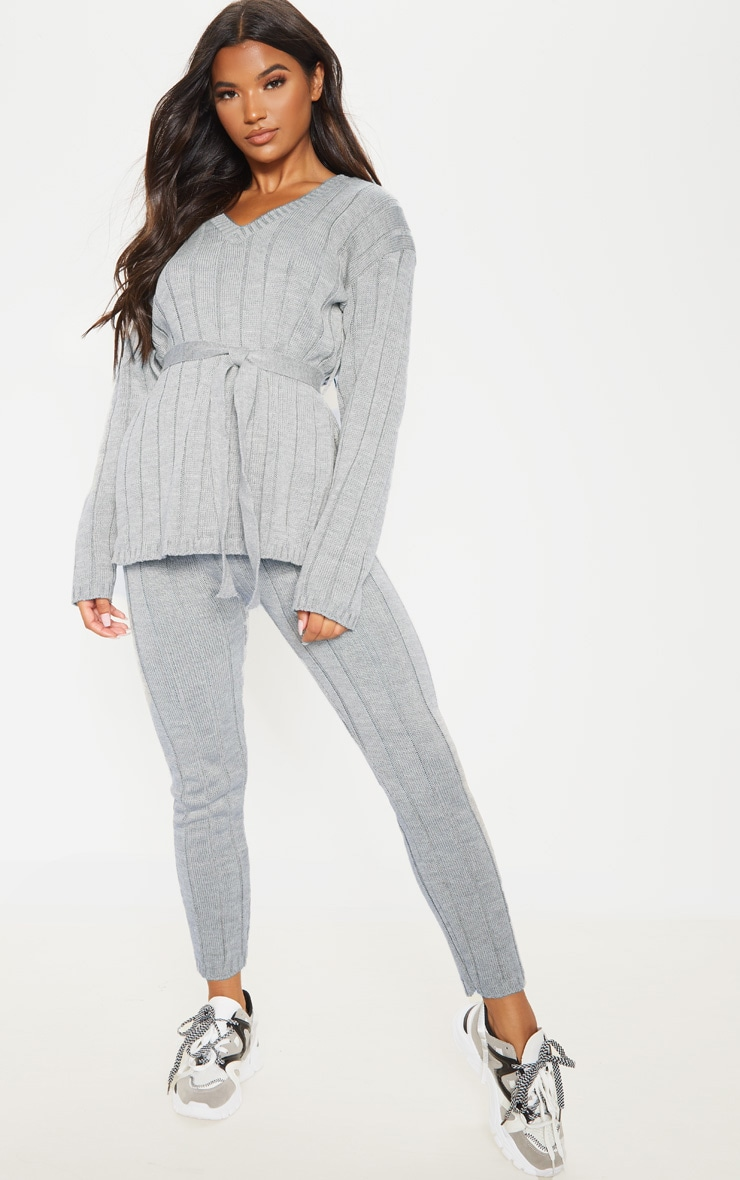 Grey Belted Longline Jumper And Legging Lounge Set 1