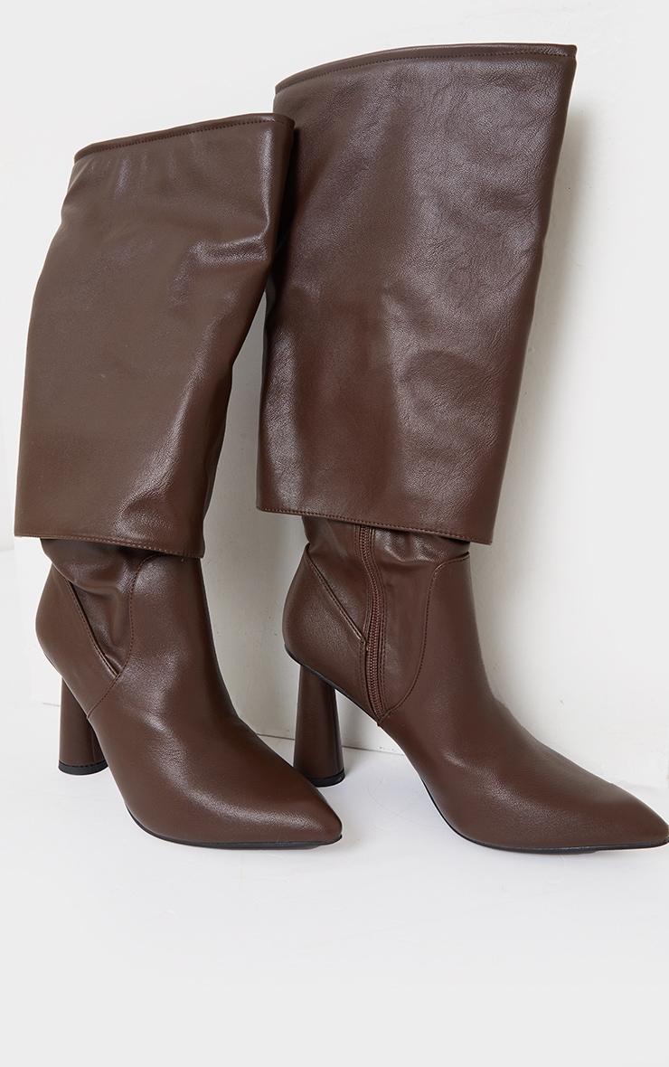 Chocolate PU Point Toe Fold Down Circle High Heeled Boots 3
