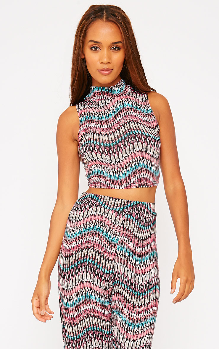 Keris Feather Print High Neck Crop Top 4