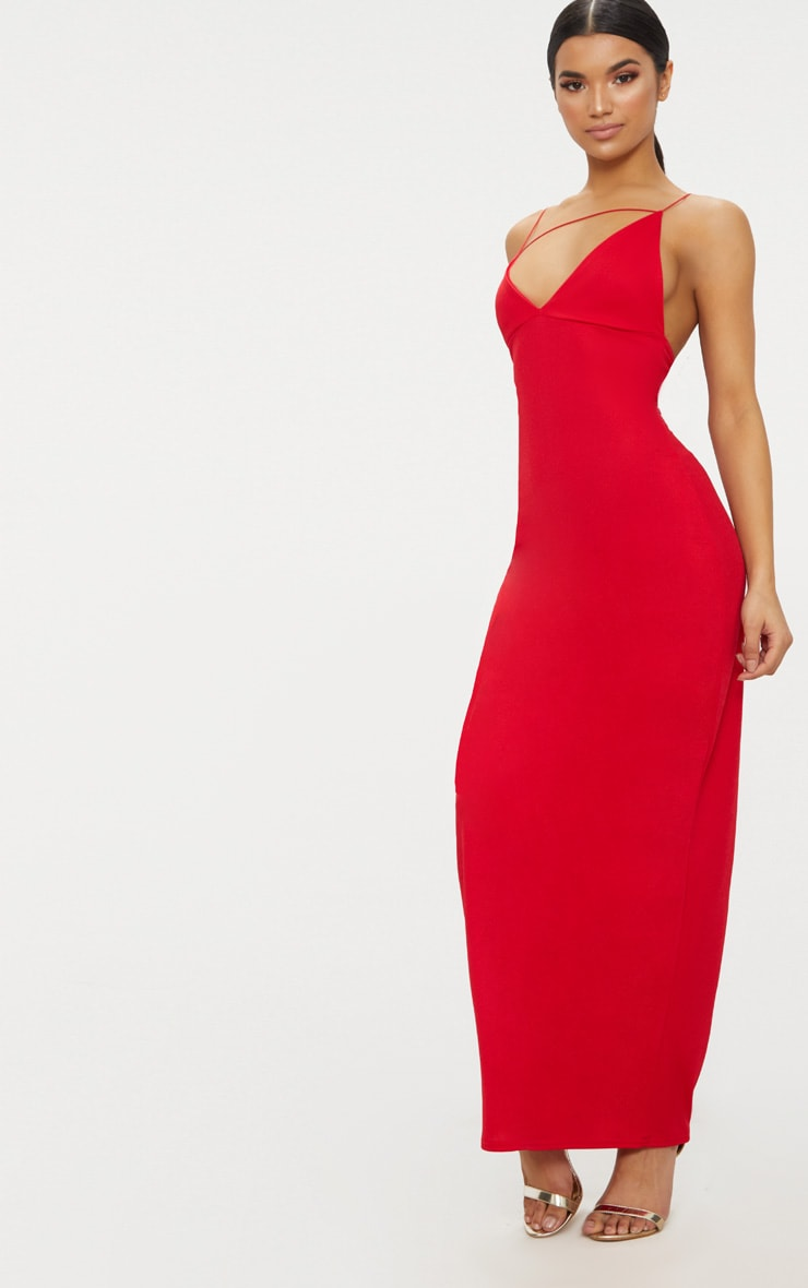 Red Strappy Detail Plunge Maxi Dress 4