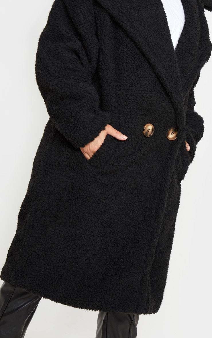 Petite Black Borg Oversized Coat 5