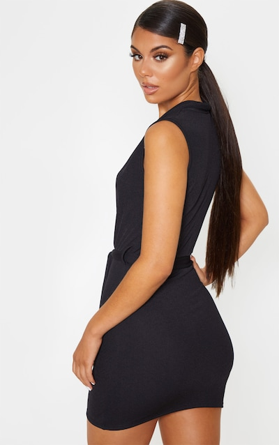 Black Lapel Detail Plunge Bodycon Dress