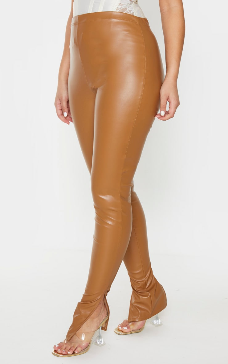 Tan Faux Leather Split Hem Pants 2