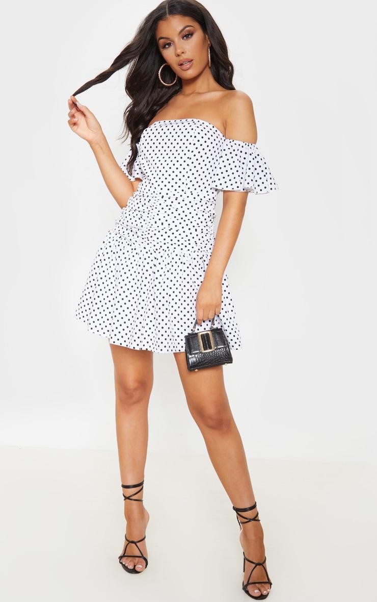 White Polka Dot Bardot Pleated Waist Skater Dress 1