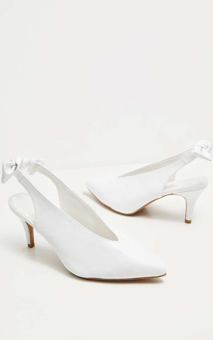 White Bow Back Slingback Mule  3