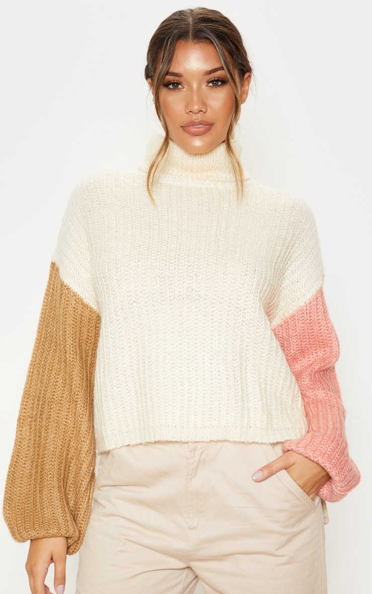 Cream Colour Block Fluffy Knit Sweater 4