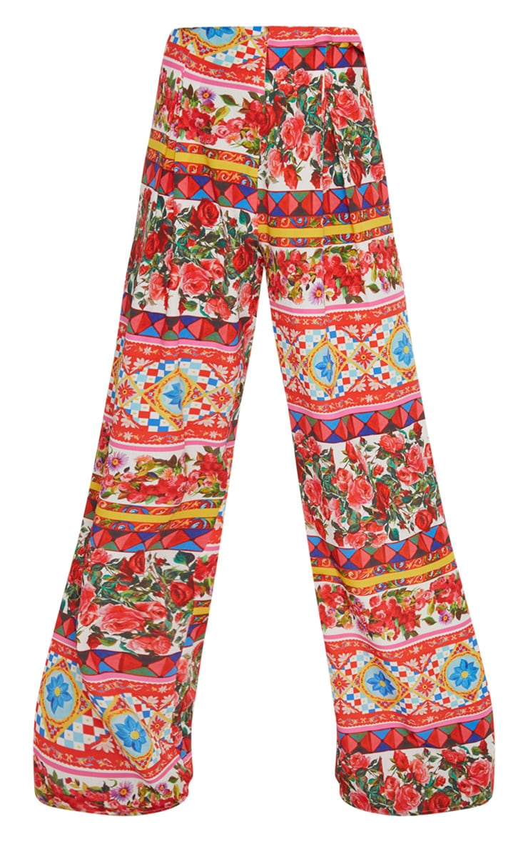 Multi Floral Wide Leg Pants 3