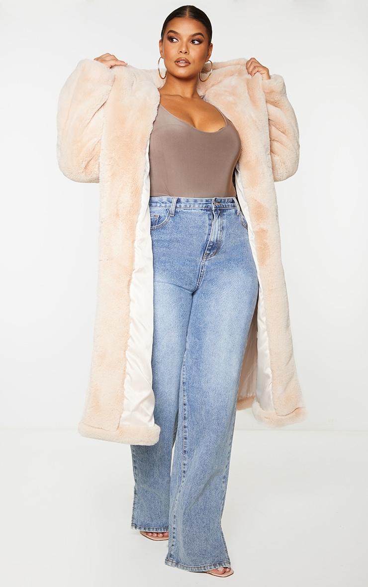 Plus Nude Premium Longline Faux Fur Hooded Coat 3