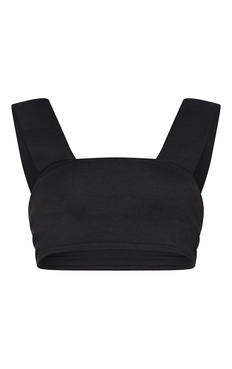 Basic Black  Cotton Strap Bralet 1