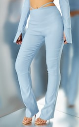 Steel Blue Stretch Woven Cut Out Detail Skinny Flared Pants 2