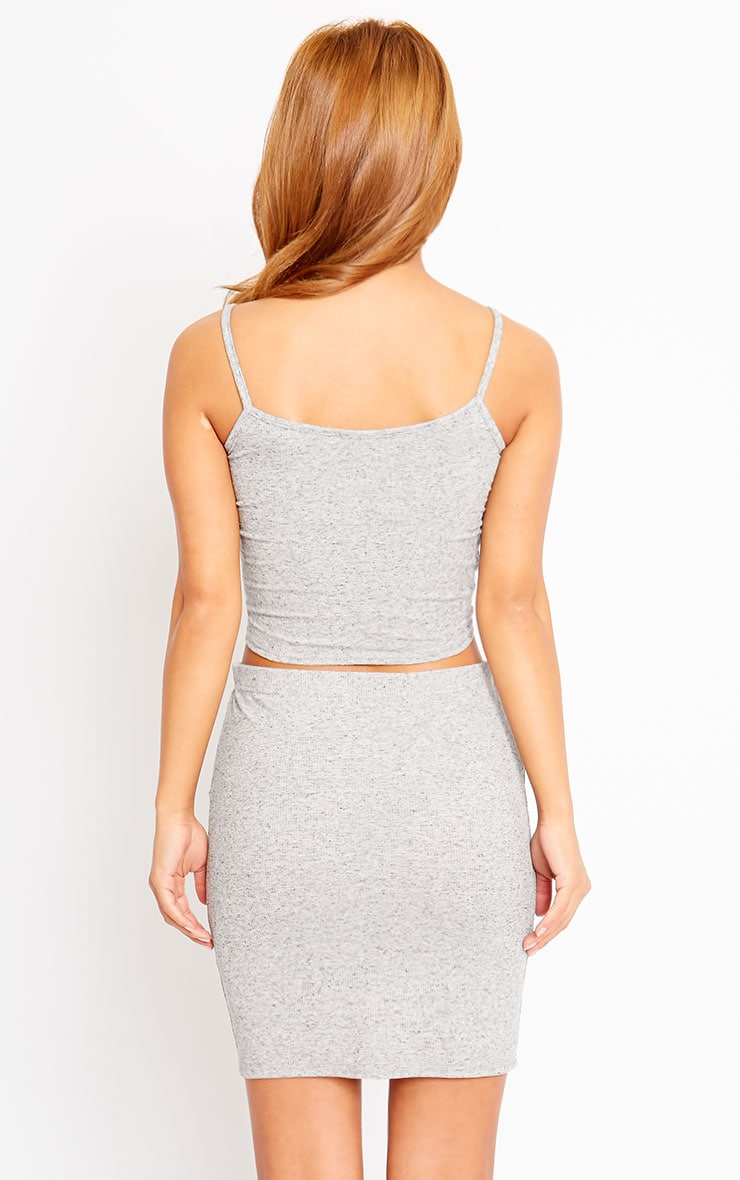 Honey Grey Ribbed Knot Crop Top 2