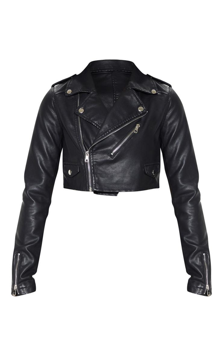 Veste de biker courte noire en PU avec zip 3