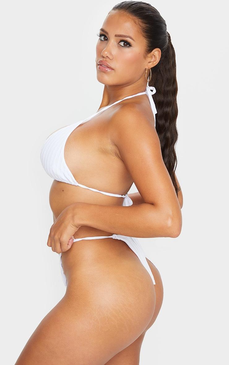 Shape - Bas de bikini échancré blanc crêpé à lanières ajustables 2