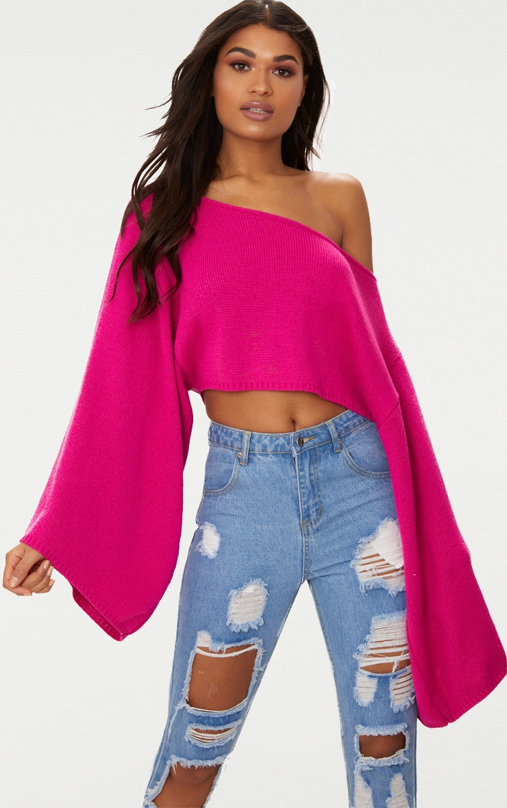Pink Wide Sleeve Jumper 1