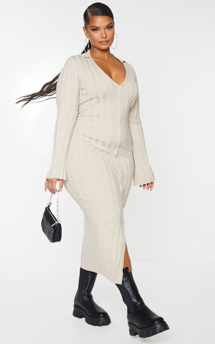 Plus Stone Rib Knitted Longsleeve Midaxi Dress 1