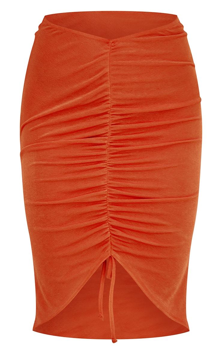 Orange Acetate Slinky V Front Ruched Midi Skirt 6